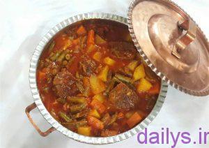 tarztahiye khoraklobiyasabzbaghosht irnab ir طرز تهیه خوراک لوبیا سبز با گوشت