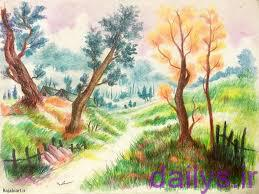 5de8a91066efc naghashi tabiat ba medad rangi irnab ir نقاشی طبیعت با مداد رنگی آسان
