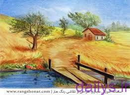 5de8a91438ff5 naghashi tabiat ba medad rangi irnab ir نقاشی طبیعت با مداد رنگی آسان